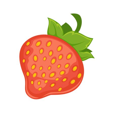 Sweet delicious ripe strawberry with leaves isolated cartoon illustration