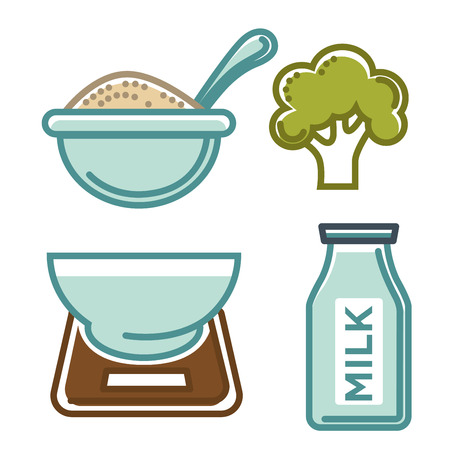 scale: Healthy food and milk