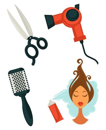 Set of hairdressing items Иллюстрация
