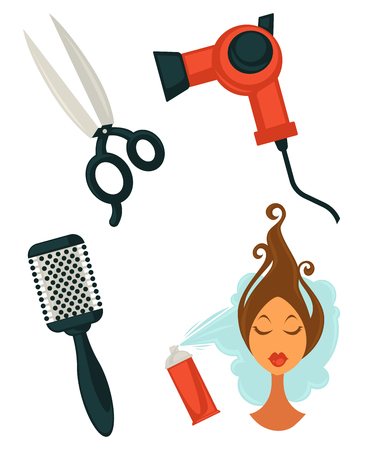 Set of hairdressing items Illustration