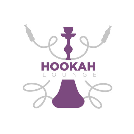 Hookah lounge promotional emblem with purple shisha silhouette and long curved smoking pipes and big sign isolated vector illustration on white background. Public place for smokers advertisement. Illustration