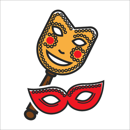 theatre masks: Vector illustration of red and yellow colored masks for masquerade isolated on white.