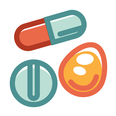 Pills in various shapes and colors collection on white. Vector colorful illustration in graphic design of long, round and oval special medical ingredients for people diseases treatment and care