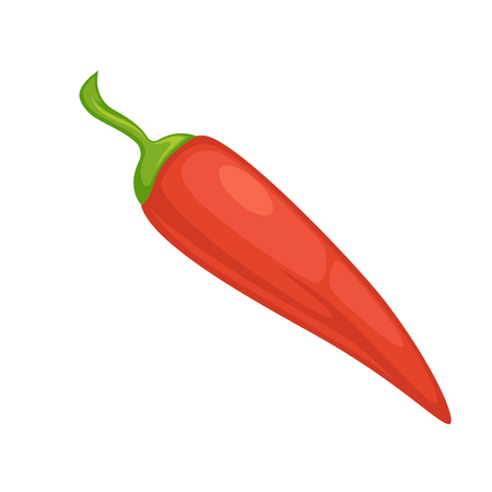 Red chili pepper or spicy jalapeno vegetable. Vector flat isolated icon for culinary salad spice or vegetarian cooking condiment Illustration