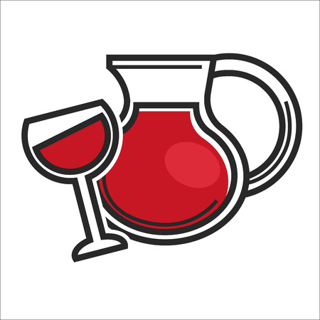 Vector illustration of jug and wineglass with refreshing red drink isolated on white.