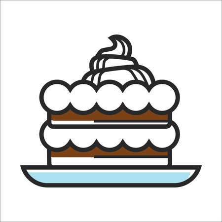 Vector illustration of chocolate cake with white cream on plate.