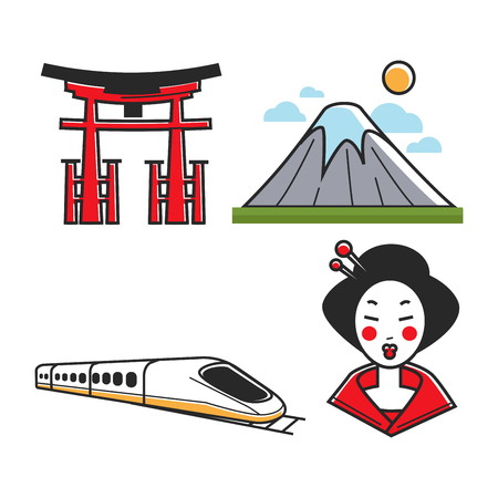 Set of traditional Japanese arch, mountain, fast train and geisha with white makeup.
