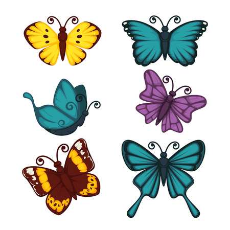 Amazing butterflies of bright yellow, deep blue, dark purple and saturated maroon colors with small stains, geometrical pattern and thick wavy lines on wings isolated vector illustrations set.