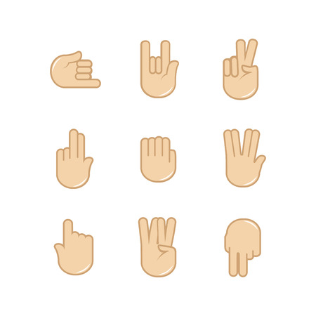 communication icons: Vector set of hand gestures icons. Sign language. Signals of hands, fingers for communication. Isolated color illustration isolated on white