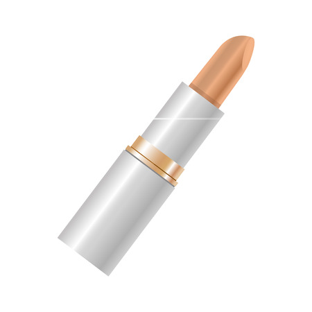 of them: Elegant lipstick in beige color for women without top cover isolated on white. Vector colorful poster in flat design of decorative element for makeup, painting lips and making them beautiful