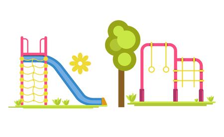 Vectorillustratie van diaraad met ladder en twee bars met cirkels en netto op de speelplaats. Stock Illustratie