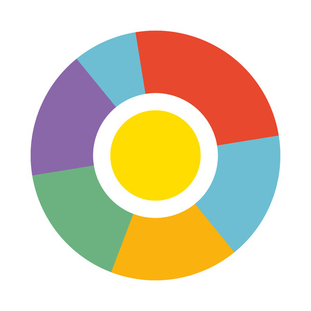 display: Bright round diagram with colorful sections isolated illustration