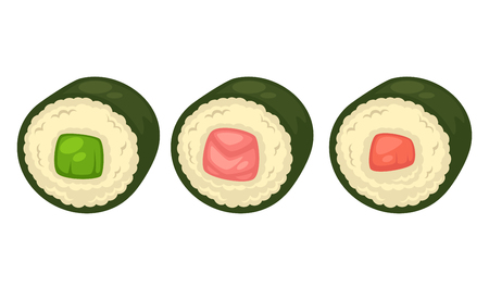 layout: Sushi with different stuffing illustration.
