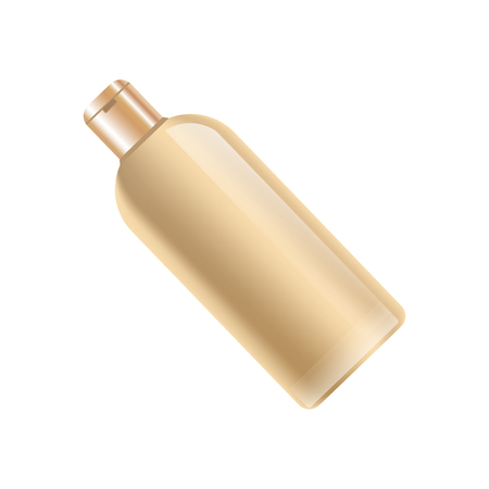 Shampoo bottle in beige color without label isolated on white illustration.