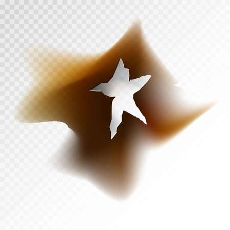 spoil: Burnt hole in form of star with dirt around illustration. Illustration