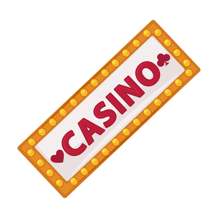 Casino signboard with lot of small lamps isolated illustration
