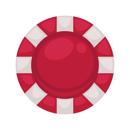 Red round poker chip with striped edge isolated illustration