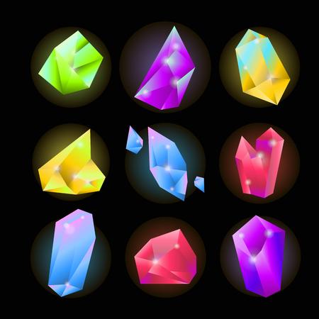 Colorful crystals of various shapes set on black background Illustration