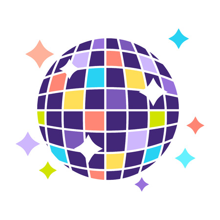 Disco ball icon for night club or party. Vector flat icon of discoball with sparkling shiny neon light reflection Illustration