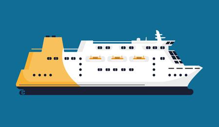 Passenger liner isolated on blue background graphic poster Ilustração