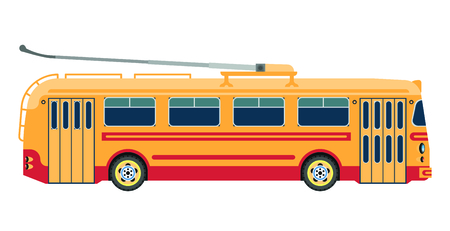 Trolleybus public transport or electric trolley bus vector isolated flat icon