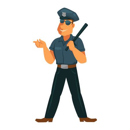 Strong policeman in good mood isolated on white Illustration
