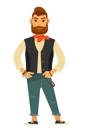 Stylish bearded man in leather vest with buttons, small orange neckerchief, beige sweater, ripped jeans and sneakers isolated vector illustration on white background. Male fashion model holds pose.