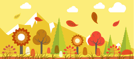 layout: Autumn time landscape vector colorful poster in graphic design. Bright illustration of various flowers and trees with falling leaves and high mountains on background in yellow colors shades.