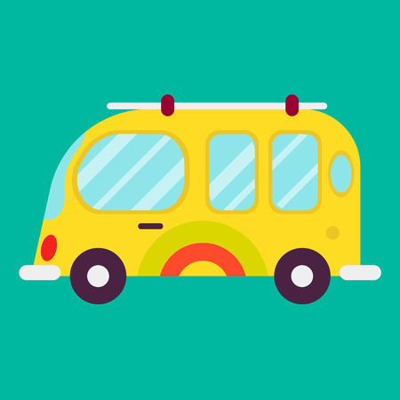 Hippie bus isolated on green background graphic poster