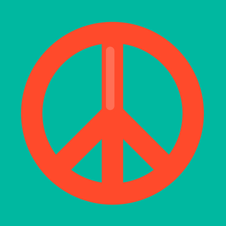Peace sign in red color isolated on green background