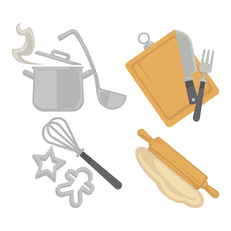 Cooking kitchenware utensils and baking cutlery vector flat icons Çizim