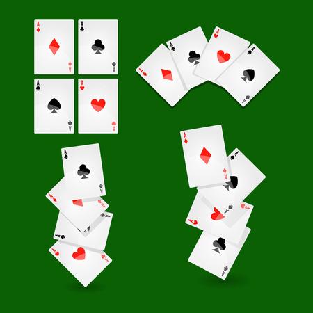Naipes del póker para los iconos del vector del juego del casino o del solitario