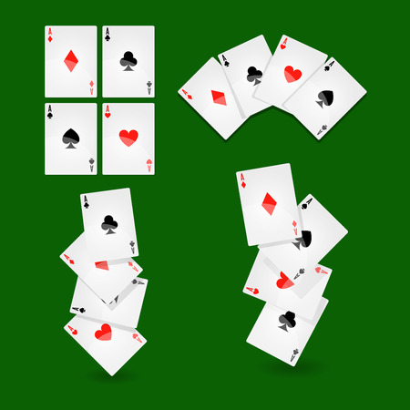 Poker playing cards for casino or solitaire game vector icons Illustration