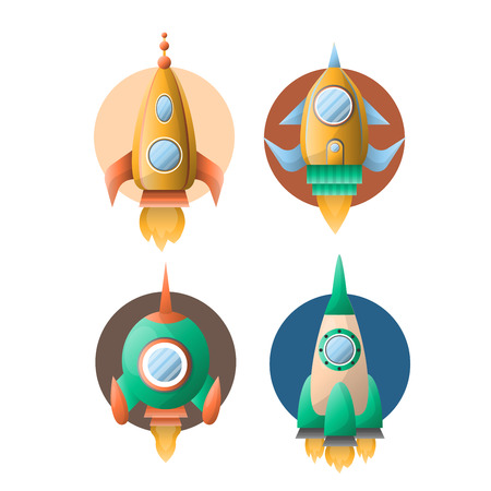 Rockets or spaceships retro cartoon vector flat icons