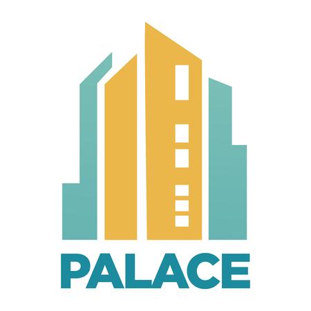 Hotel Palace edificio icona piatto vettoriale per agenzia immobiliare o società Archivio Fotografico - 82227519