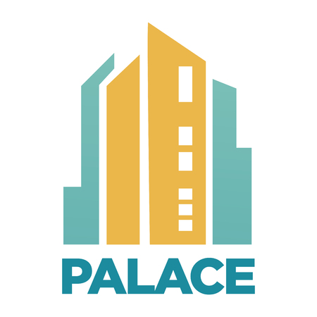 layout: Palace hotel building flat vector icon for real estate agency or company Illustration