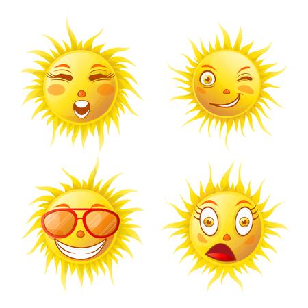amazed: Sun smiles cartoon emoticons and summer emoji faces vector icons set