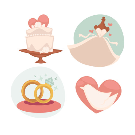 Vector wedding illustrations with marriage symbols. Illustration