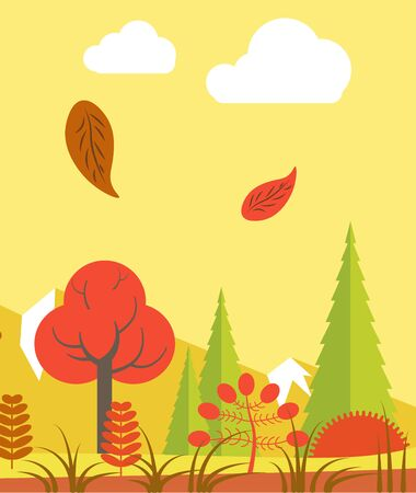 fall leaves: Leaves walling in forest Illustration