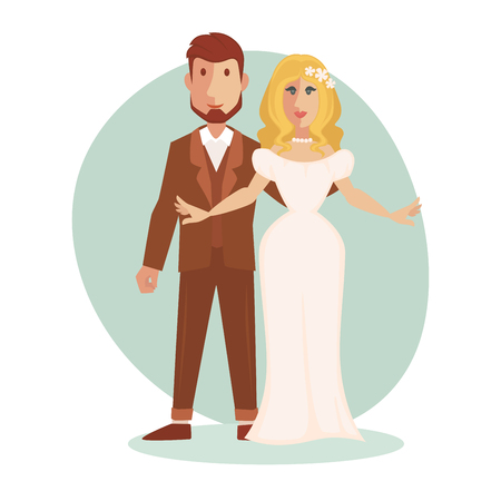 celebration background: Vector illustration of young happy Just married couple newlyweds bride and groom.