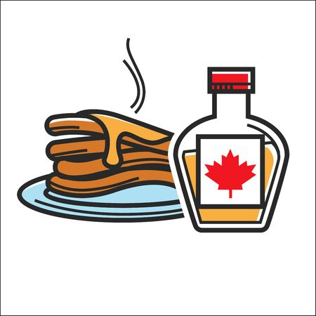 Canadian pancakes in maple syrup vector isolated Canada traditional food symbol