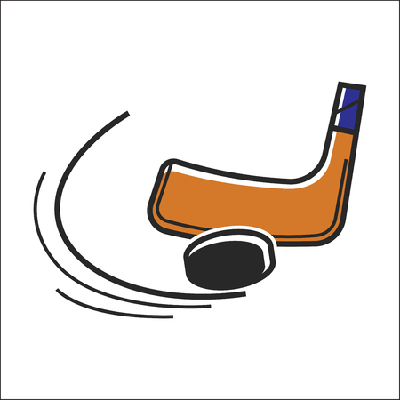 Canadian hockey stick and puck vector isolated Canada traditional sport symbol Illustration