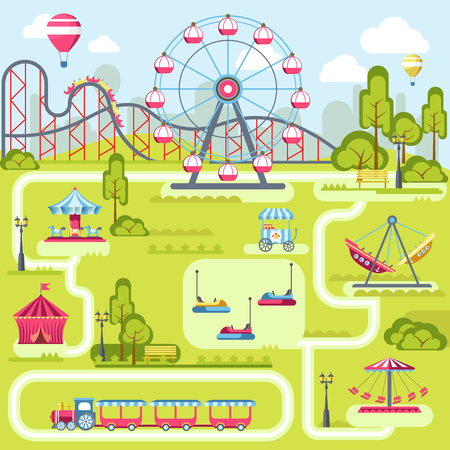 Pretpark attracties vector platte plan sjabloonontwerp Stock Illustratie