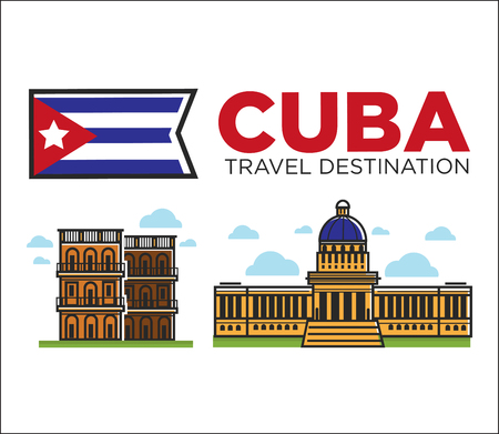 Cuba travel famous landmarks and sightseeing vector Havana icons Illustration