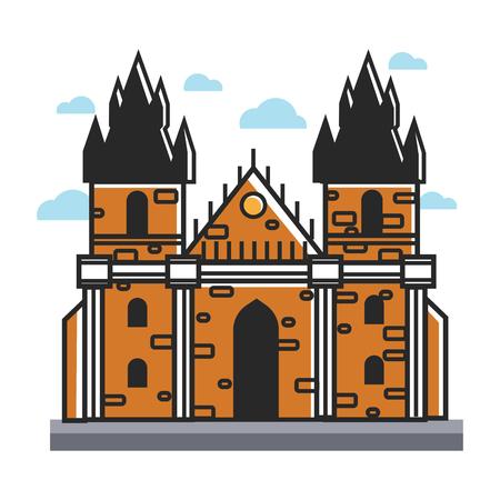 in monastery: Prague castle Czech travel popular destination, famous culture landmark vector icon