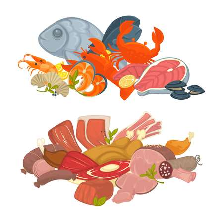Food meat, fish and seafood vector flat icons set