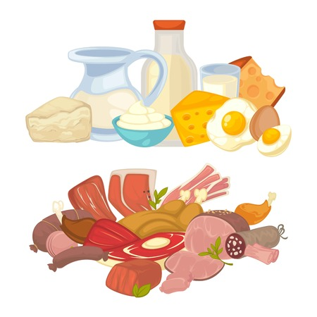 raw chicken: Food meat and dairy milk products vector flat icons set Illustration