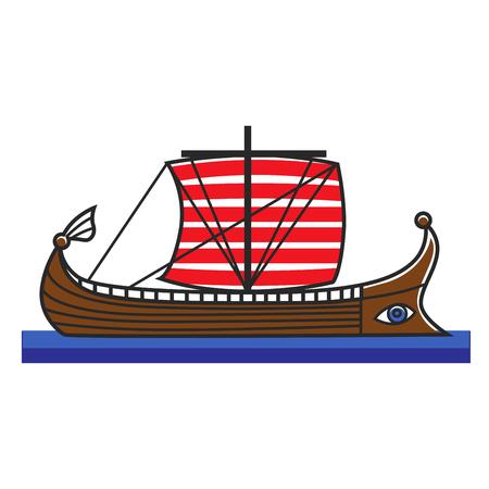 Greek boat Odyssey argonauts for Greece travel destination famous tourist vector icon Illustration