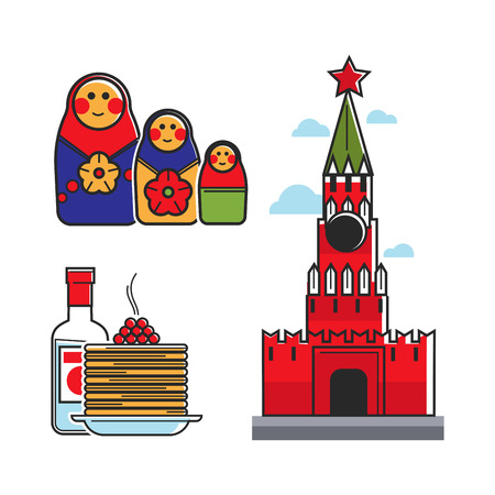 matryoshka: Russia Soviet Union symbols for USSR Russian travel tourist attraction vector icons Illustration