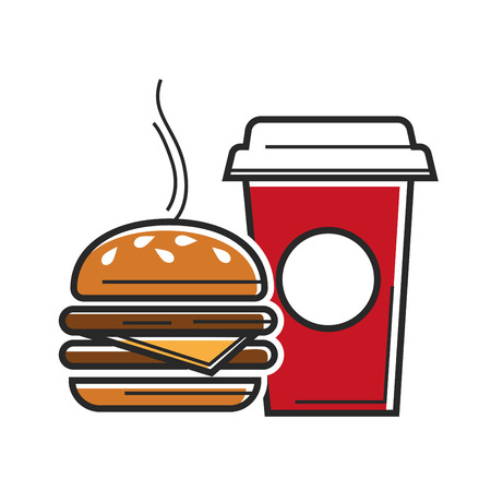 American fast food symbols for USA America travel tourist attractions vector icon